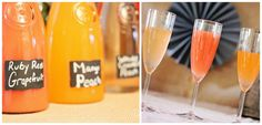 Bridal Shower Ideas have different juices on table with champagne and drink me tags