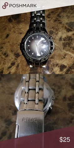 Relic watch Silver with Gray face Has a link band only wore once my son didn't like it Relic Jewelry