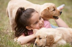 Girl playing with puppies outdoors - Girl playing with puppies outdoors