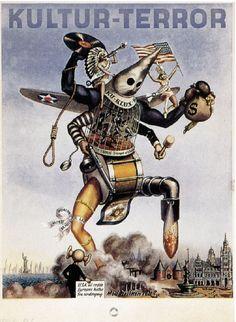 "georgy-konstantinovich-zhukov: ""German propaganda poster from World War II, painted by Harald Damsleth. Ww2 Propaganda Posters, Arte Punk, Wolfenstein, World War Two, Vintage Posters, Wwii, Germany, History, Destruction"