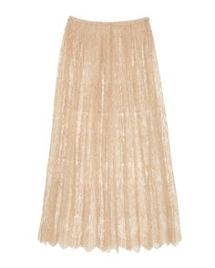 Ryan Roche | French Lace Skirt in Light Mink