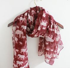 Red Elephant Scarf Red Scarf with White Elephant by LitoPinkOwl, $15.00