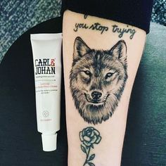 Arm Tats, Arm Tattoos For Guys, Tatoos, Tatting, Wolf, Healing, Cream, Instagram, Creme Caramel