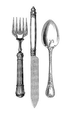 Vintage Kitchen Clip Art - Fork, Knife, Spoon - The Graphics Fairy http://thegraphicsfairy.com/vintage-kitchen-clip-art-fork-knife-spoon/