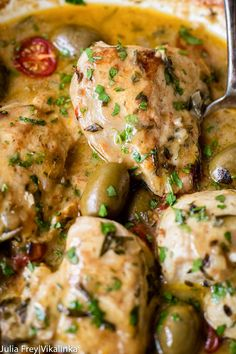 This Chicken Provencal recipe is a quicker and leaner take on the French classic made with chicken breasts, cherry tomatoes and olives.