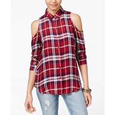Polly & Esther Juniors' Plaid Cold-Shoulder Button-Front Shirt ($20) ❤ liked on Polyvore featuring tops, royal red, cut-out shoulder tops, cut out top, red shirt, red top and cold shoulder tops