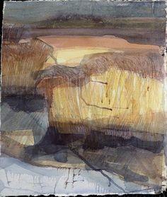 Ruth Mccabe watercolour Iken Reed beds, evening sun.