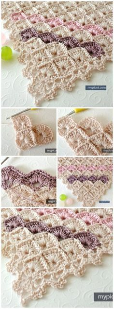FREE Crochet pattern for a gorgeous triangle shawl using the box stitch pattern.: