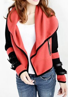Love...Love...Love this Coral Color Plain Irregular Turndown Collar Cotton Blend Cardigan #coral #cardigan #sportswear #fashion