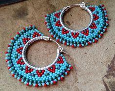 Tribal Hoop Earrings Beaded Boho Hoops Blue Red and by windyriver Seed Bead Jewelry, Seed Bead Earrings, Beaded Jewelry, Handmade Jewelry, Hoop Earrings, Seed Beads, Beaded Earrings Patterns, Beading Patterns, Crochet Earrings