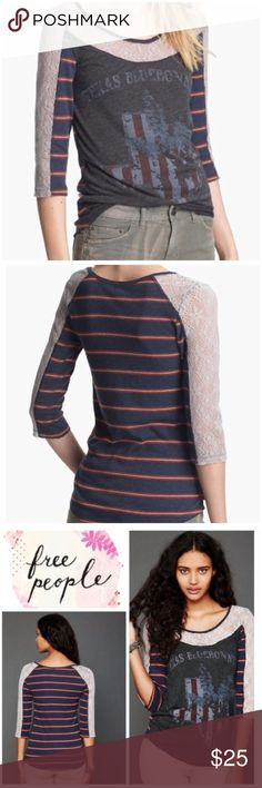 Free People Love Me Lace Texas Bluebonnet Tee Size small. We the Free from Free People. A little bit of sheer lace sweetens a vintage tee crafted from a combination of sporty stripes & a distressed graphic. Polyester, cotton, spandex. EUC Free People Tops