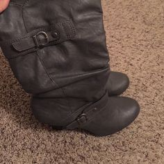 Adorable gray boots Comfortable to wear. In good condition Style & Co Shoes Heeled Boots