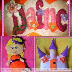 creaciones FOG: nombre en fieltro Princesa Dafne