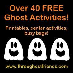 Halloween busy bags, preschool center activities, FREE printables, craft and hands-on ghost activities!  Happy Halloween!
