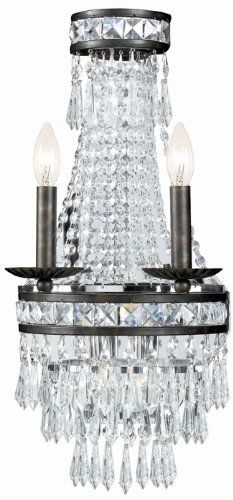 Crystorama 5262-EB-CL-MWP, Mercer Candle Crystal Wall Sconce Lighting, 2 Light, 120 Watts, Bronze:Amazon:Home Improvement