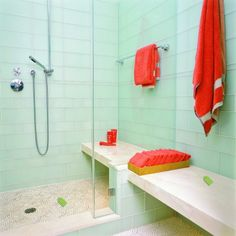 Like the shower tile--variety of sizes Contemporary Bathroom Design, Pictures, Remodel, Decor and Ideas - page 11 Glass Tile Bathroom, Kid Bathroom Decor, Bathroom Tile Designs, Glass Shower Doors, Bathroom Floor Tiles, Shower Floor, Glass Tiles, Wall Tiles, Subway Tiles