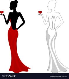 Beautiful Girl In A Red Dress Royalty Free Cliparts, Vectors, And Silhouette Art, Dress Silhouette, Silhouette Of Woman, Cute Dresses, Beautiful Dresses, Dresses Dresses, Dance Dresses, Short Dresses, Free Cliparts