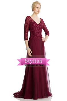 2016 Burgundy/Maroon Mother Of The Bride Dresses Chiffon With Applique 3/4 Length Sleeve