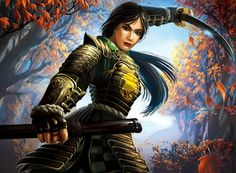 """Asian art """"Crane Samurai-ko that, given the colours of her armour, is the Emerald Champion. Character Concept, Character Art, Character Design, Character Ideas, Fantasy Characters, Female Characters, Female Samurai, Fantasy Samurai, Samurai Warrior"""