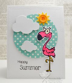 Your Next Stamp - Jumbo Flamingo Fred, Puffy Cloud Die, Sun, Happy Day Sentiments