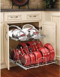 shelf kitchen cabinet storage drawer organizer organized pots amp pans storage this is a really easy great way to store
