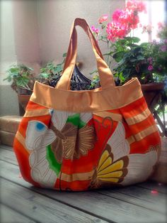 Obi Kimono Bag / GD447 Beautiful Butterflies by RummyHandmade, $65.00