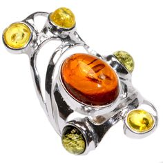7 4G Authentic Baltic Amber 925 Sterling Silver Ring Jewelry s 5 5 A7018S55 | eBay