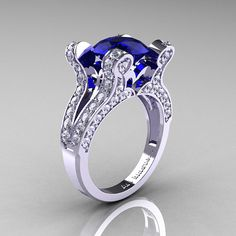 Catherine  French Vintage 14K White Gold 30 CT Blue by artmasters, $1749.00