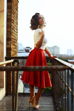 Red tea length skirt, preppy sweater, and sparkly gold heels ♡ :: 50s inspred:: Retro Fashion:: Red Vintage skirt