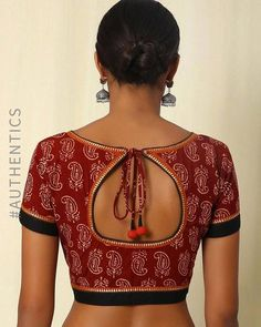 Buy Maroon Indie Picks Handblock Print Hand Embroidered Cotton Blouse