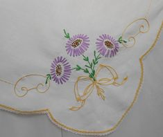 Tablecloth Purple Gold Green Hand Embroidery Vintage White Cotton Table Topper Hand Crochet Lace Trim 32 x Holiday Party Bright Color by VintageBabyByKay on Etsy Embroidery Patterns Free, Rose Embroidery, Japanese Embroidery, Hand Embroidery Patterns, Vintage Embroidery, Embroidery Thread, Hand Crochet, Crochet Lace, Quilt Stitching