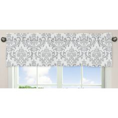 @Overstock.com - Sweet JoJo Designs Elizabeth Window Valance - Dress up your windows with this cotton window valance. The charming gray and white pattern has a classic look, and it coordinates with other items in the Elizabeth collection made by Sweet JoJo Designs. It has a rod pocket for easy hanging.  http://www.overstock.com/Baby/Sweet-JoJo-Designs-Elizabeth-Window-Valance/8145404/product.html?CID=214117 $18.99