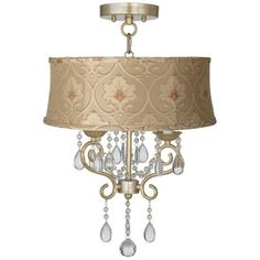 "Conti 16"" Wide Ceiling Light with Taupe Floral Shade -"