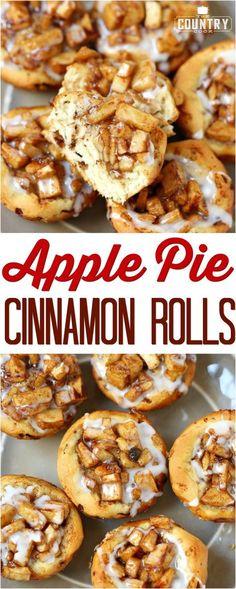 Easy Apple Pie Cinnamon Rolls recipe from The Country Cook #breakfast #desserts #ideas #apples #cinnamonrolls