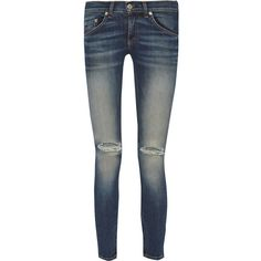Rag & bone Distressed mid-rise skinny jeans (185 CAD) ❤ liked on Polyvore featuring jeans, mid denim, super skinny jeans, faded blue jeans, ripped skinny jeans, destroyed skinny jeans and skinny leg jeans