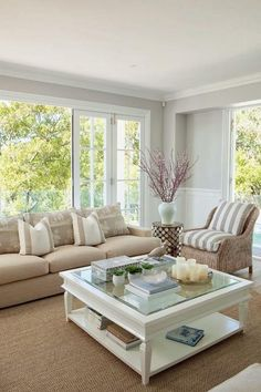 Beautiful Sunroom Decorating Ideas - Once you have your sunroom completed, then the hard part of the job starts the decorating. You may have some sunroom decorating ideas in mind but once. Coastal Living Rooms, Home Living Room, Sunroom Decorating, Sunroom Ideas, Small Sunroom, Hamptons Decor, Living Room Decor Inspiration, Design Furniture, Furniture Ideas