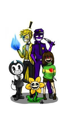 Gravity Falls, Five Nights at Freddy's, Undertale, Bendy and the Ink Machine Bill Cipher, Purple Guy, Bendy, Chara, Flowey Crossover