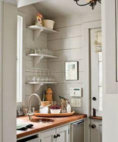 Light gray. Open shelves. Butcher block. Cottage.