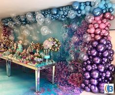 A party dream ? Via Scenery Balloons Little Mermaid by Scenery Balloons and with Adri Farall … - New Deko Sites Balloon Garland, Balloon Decorations, Birthday Party Decorations, Party Themes, Birthday Parties, Balloons, Party Ideas, Deco Ballon, Idee Baby Shower