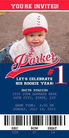 "Baseball 1st Birthday Invite ""Let's Celebrate His Rookie Year"""