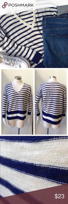 """Oversize Madewell blue and white stripe pullover Channel the nautical vibe in this drop shoulder V neck 3/4 sleeve from Madewell. The sleeves are fitted, while the torso is loose. Slub knit weave in good used condition with minor piling. Cotton/wool blend. Hand wash. 20 1/2"""" bust (flat). 13"""" sleeve from shoulder seam. 21 3/4"""" length. No trades or selling outside of Posh. Bundle for discounts. Madewell Sweaters V-Necks"""