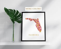 Florida map print USA state poster state map print modern wall art USA prints map pink gold mosaic map Florida art print Florida poster