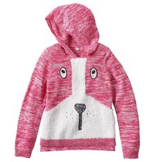Design 365 Puppy Marled Sweater Hoodie - Toddler Girl, Size: 2T, Pink Other