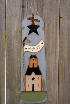 Welcome Sign from Ceiling Fan Blade by theprimplace on Etsy