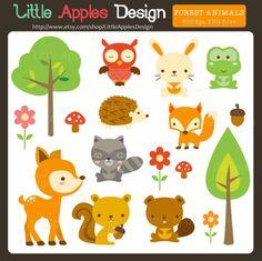 Woodland Animal Clip Art / Woodland Animal Clipart / Forest Animal Clipart / Forest Animal Clip Art  / Cute Animal Clipart / Owl Clipart