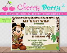 MICKEY MOUSE SAFARI Invitation Digital File - Printable by Cherryberryprint on Etsy https://www.etsy.com/listing/267561562/mickey-mouse-safari-invitation-digital