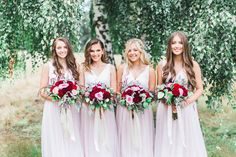 #Bridesmaids #PinkBurgundytones #wedding
