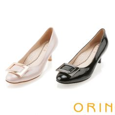ORIN 通勤舒適 方型飾釦中跟鞋-粉紅 - Yahoo!奇摩購物中心