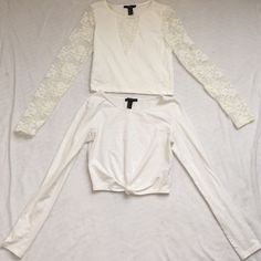 Brand new forever 21 long sleeve crop top bundle Brand new forever 21 long sleeve knotted crop top, lace-sleeved crop top. Never worn. Phenomenal condition! NO TRADES! Pic 2: knotted top. Pic 3: back of lace-sleeved top. Forever 21 Tops Crop Tops