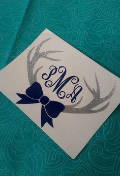 Deer Antler Bow Monogram | Deer monogram | Southern Decal | Car decal | Preppy…